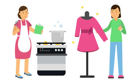 Young Woman Cooking and Tailoring Vector Illustration Set