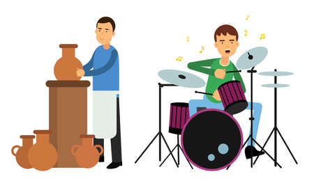Young Man Making Pottery and Playing Percussion Instrument Vector Illustration Set