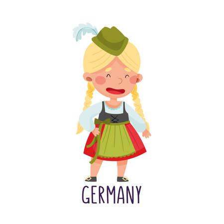 Smiling Girl Wearing National Costume of Germany Vector Illustration Illusztráció