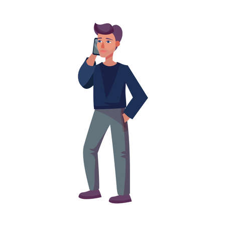 Young Man Standing and Speaking by Phone Vector Illustration Ilustración de vector