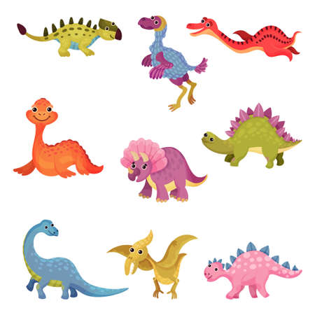 Funny Dinosaurs as Ancient Reptiles Isolated on White Background Vector Set 矢量图像