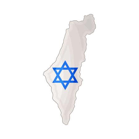 Israel Boundary with Star of David Vector Illustration