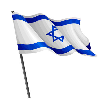 Israel Flag Waving on Pole as National Country Attribute Vector Illustration