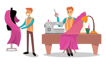 Man Dressmaker or Tailor Working in Atelier Sewing on Machine Vector Illustration Set Иллюстрация