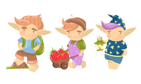Cute Troll Pulling Trolley with Strawberry and Walking with Backpack Set