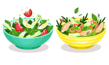 Fresh Salads in Bowl with Green Vegetables and Meat Slabs Set