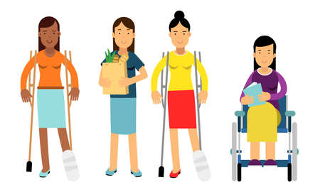 Disabled People Characters Getting Help and Assistance Illustration Set
