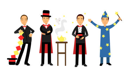 Magician or Illusionist in Top Hat Performing Tricks Vector Illustration Set