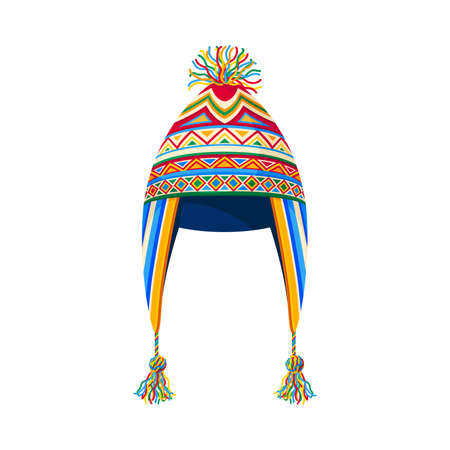 Peruvian Hat with Bright Ornament as Headdress Vector Illustration