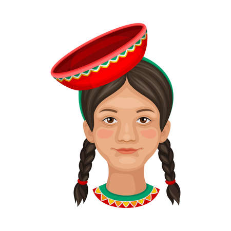 Peruvian Girl Head with Braids Wearing Ethnic Hat Vector Illustration