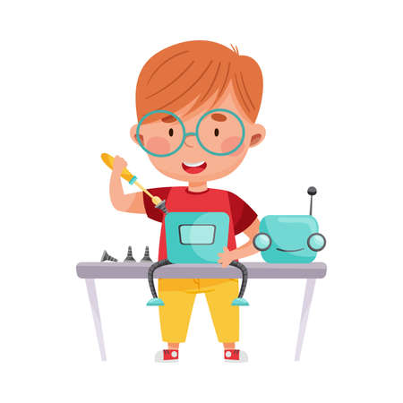 Smiling Boy Character Engineering and Configurating Robot Vector Illustration
