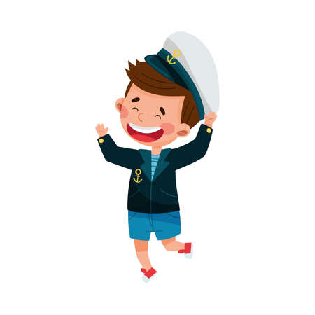 Cheerful Little Boy in Mariner Striped Vest and Forage Cap Jumping with Joy Vector Illustration