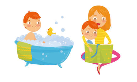 Little Boy Sitting in Bathtub and Reading Book with Mom Vector Set