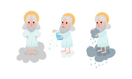 God Character with Nimbus Standing on Cloud Pouring Rain and Snow Vector Illustration Set