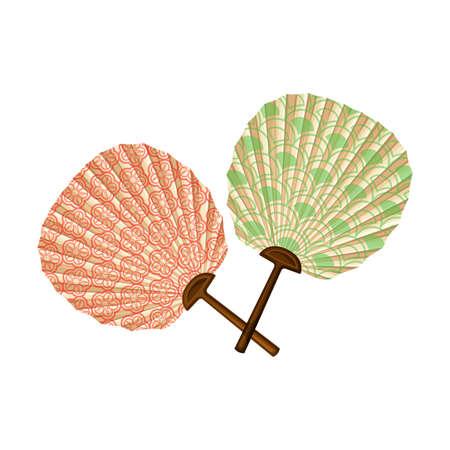 Decorative Hand Fan as Japan Symbol Vector Illustration 矢量图像