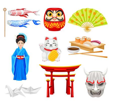 Japan Symbols with Origami Figures and Geisha Girl Vector Set