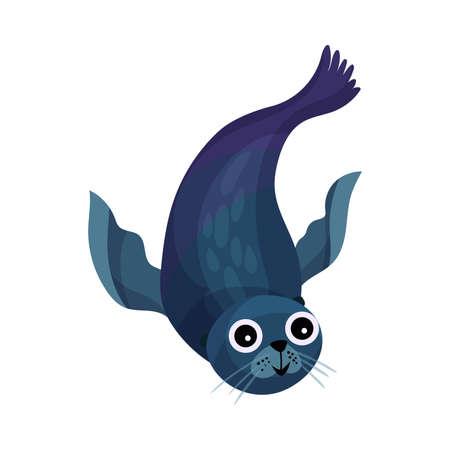 Funny Sea Calf or Seal as Marine Animal Vector Illustration