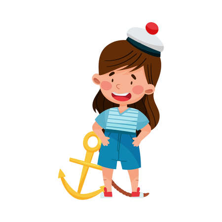 Cute Little Girl in Mariner Striped Vest and Peakless Hat Standing with Anchor Vector Illustration