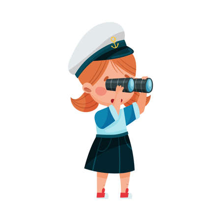 Funny Girl Wearing Mariner Costume and Forage Cap Looking in Binocular Vector Illustration