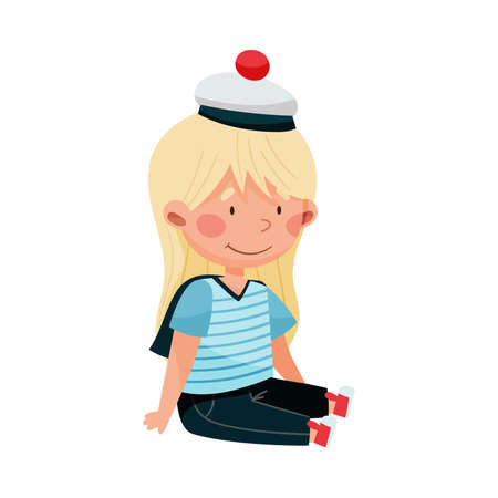 Cheerful Little Girl in Mariner Striped Vest and Peakless Hat Sitting Vector Illustration