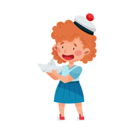 Funny Girl Wearing Mariner Costume and Peakless Hat Holding Paper Boat Vector Illustration
