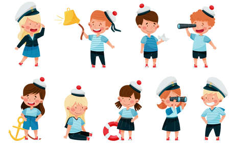 Little Children in Mariner Costume and Forage Cap or Peakless Hat Playing Sailor Vector Illustration Set
