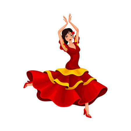 Young Woman in Bright Red Dress Dancing Flamenco Vector Illustration