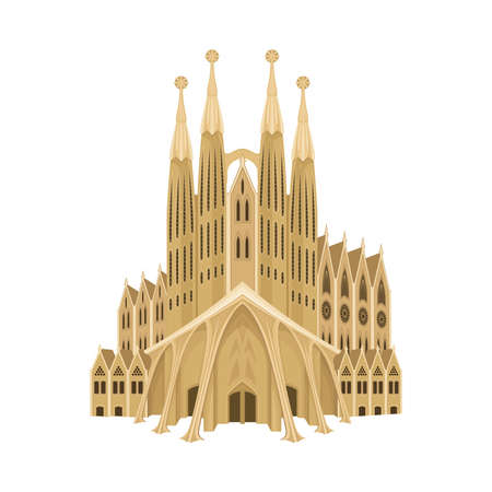 Spain Cathedral Church or Dom as Country Landmark Vector Illustration