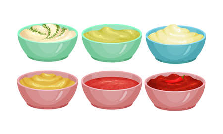 Different Sauces as Liquid or Cream Food Served in Bowls Vector Set