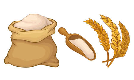 Ear of Wheat as Grain-bearing Stem of Cereal Plant and Flour Sack Vector Set