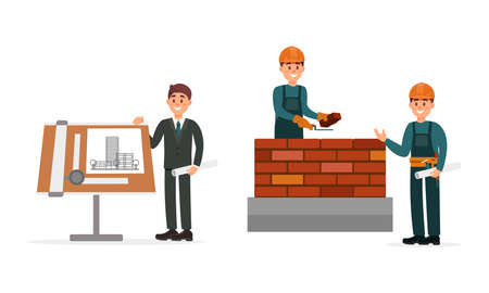 Man Engineer Presenting Building Draft and Builder Laying Bricks on Construction Site Vector Illustration Set Illusztráció