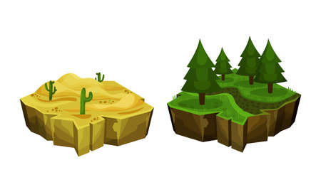 Game Islands with Desert and Forest Vector Set