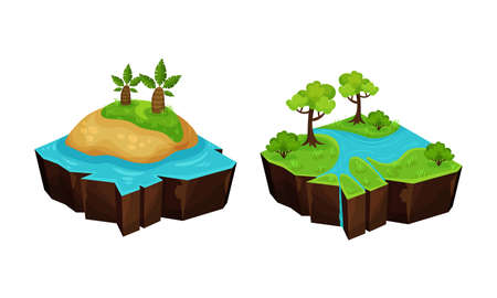 Game Islands with Tropical Land and River Vector Set