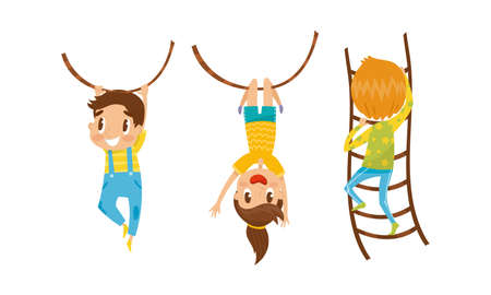 Little Boy and Girl Climbing Ladder and Swinging on Rope Vector Set Vector Illustratie
