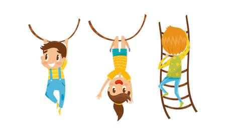 Little Boy and Girl Climbing Ladder and Swinging on Rope Vector Set Ilustração Vetorial