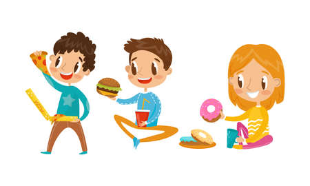 Smiling Girl and Boy Character Eating Pizza and Hamburger Vector Illustration Set Ilustração