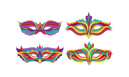 Masquerade Masks or Carnival Masque with Colorful Ornate Vector Set