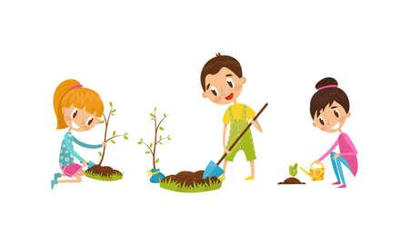 Little Boy and Girl with Shovel Planting Tree and Watering Seedling Vector Illustration Set Ilustração Vetorial