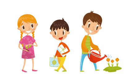 Little Boy Carrying Paper for Recycling and Girl Holding Seedling Vector Illustration Set