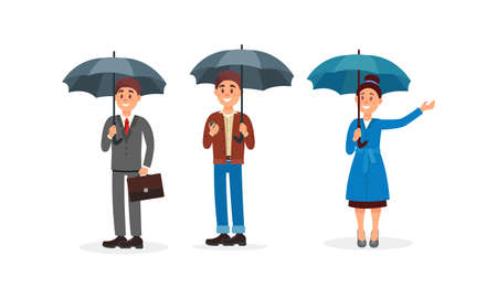 People Characters Walking with Umbrellas Vector Illustration Set 向量圖像