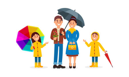 Family Couple and Kids Walking with Umbrellas Vector Illustration Set