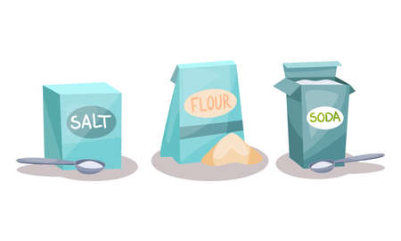 Ingredients for Baking with Salt, Flour and Soda Vector Set