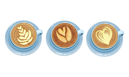 Cups on Saucer with Coffee Latte Crema Art Vector Set