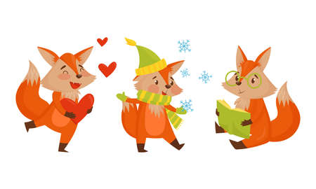 Funny Orange Fox Holding Heart and Reading Book Vector Set