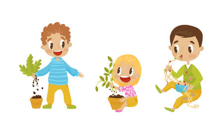 Naughty Girl and Boy Eating Noodle with Hands and Uprooting Plants Vector Illustration Set