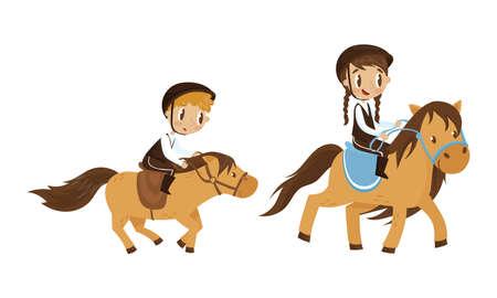 Cute Kid Jockey Riding Horse with Leading Reins Vector Set Vecteurs