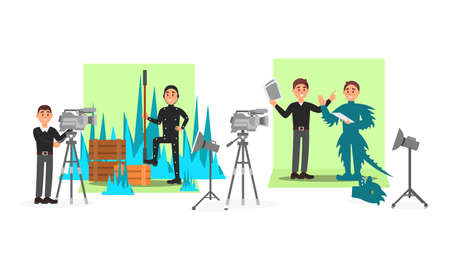 Male Cameraman Filming Movie with Actor Wearing Costume Vector Illustration Set
