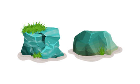 Rocks and Stones with Green Grass Vector Set
