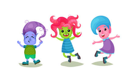 Cute Troll Characters with Different Skin and Hair Color Vector Set