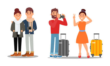 Young Couple Travelling on Vacation Vector Illustration Set Stock Illustratie